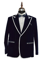 Men Smoking Jacket Disgner Navy Blue Velvet Blazer Party Wear Coat Jackets