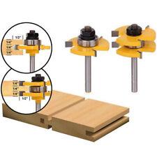 2Pcs 1/2'' Shank T Type Shaker Tongue Groove Router Bit Set For Wooden Door