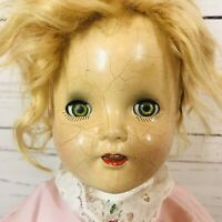 "Antique 23"" Composition Doll With Red Hair Green eyes CREEPY Halloween"