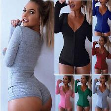 Womens Plunge V Neck Pajamas Nightwear Sleepwear Stretch Bodysuit Leotard Tops
