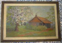 Vintage Margaret (Mattie) K. Toennigs Cabin Oil Painting Early IL WI Artist