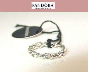 NEW PANDORA SILVER RING KNOTTED HEARTS BAND #198018
