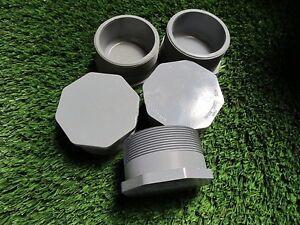 "Lot of 5 PVC NIBCO 4"" Caps Sch 80 Threaded"