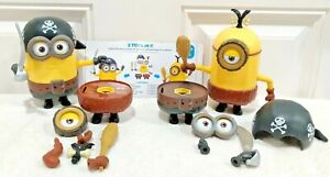 """2 Poseable DELUXE Build-A-Minion Pirate / Cro-Minion 6"""" Action Figures Thinkway!"""