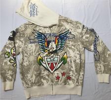 Christian Audigier Rhinestone Ed Hardy Hoodie Multicolor Sweatshirt XXL