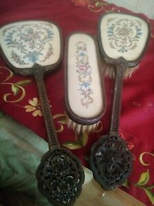 Antique Petite Point Brush Mirror Set