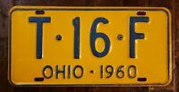 1960 OHIO License Plate T - 16 - F.  Original Paint.  Fast Free Shipping