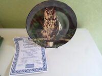 Delightful Colourful Owl Plate THE NIGHT SPIRIT by Michael Leach - Bird Interest