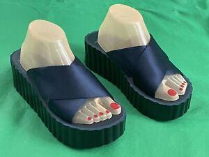 Tory Burch Bellini Wedge Platform Sandals Blue Satin Slides Women SZ US 9 EU 40