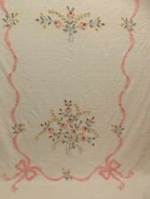 Country Cottage Chic Vtg Pink Rose Bouquet Ribbon Bow Chenille Bedspread 95x108