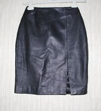 MARGARET GODFREY BLACK LEATHER PENCIL KNEE  LENGTH SKIRT SIZE: 4 Made in India