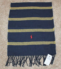 $58 New POLO Scarf Navy Blue Yellow Striped Men's Unisex WOOL BLEND Fringe Pony