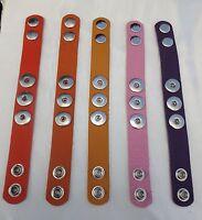 Leather 3 botton 24cm Bracelets Noosa Style Snap Button Red Orange, Pink & Purpl