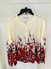 4b15ee8756a CATHY DANIELS  50 Cream Floral Lightweight Cardigan Sweater Womens XL FAST  SHIP!