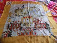 100 % PURE SILK SCARF LONDON PAGEANTRY HAND PAINTED SIGNED 2004 HERMES QUALITY