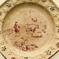 Antique 1830's Staffordshire Pearlware Child's Plate Ben Franklin's Proverbs