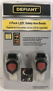 Defiant 2 Pack LED Arm Bands Safety For Runners Cyclists Flashing Red Light