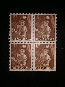 Polonia 1952 Mi PL 783 MNH en bloque de cuatro