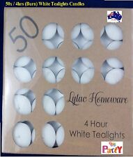 50Pcs 4 Hours White Tealight Candle Tea Light Candles Home Decor Party Wedding