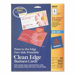 Avery Print-To-The-Edge True Print Business Cards, Inkjet, 2X3 1/2, Wht, 160/Pk