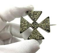 Pyrite Maltese Cross Brooch Antique Georgian Silver-Plated Durzy