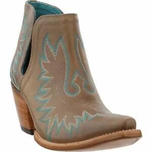 "Ariat Dixon Embroidery Snip Toe   Womens  Booties Casual  Mid Heel 2-3"" - Brown"