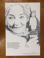 Helen Hayes Poster Lithograph Print David Melton Illustrated 1975 Vtg
