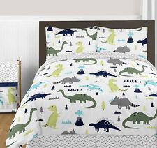 Sweet Jojo Navy Green Gray Dino Boys Girls Kids Queen Full Comforter Bedding Set