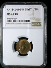 Kingdom of Egypt AH1342/1924 1/2 Millieme *NGC MS-65RB* >Tops Pops Finest Known<
