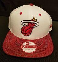 New Era Mens White NBA Miami Heat 9 Fifty Original Fit Snapback Cap Hat