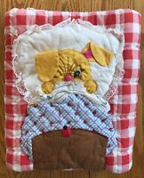 Vintage Handmade Baby Quilt Crib Comforter Red White Checks Bunny Rabbit in Bed