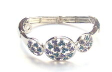 Equilibrium Bracelet Blue & Purple Flower Silver Plated Stretch  - Comes Boxed