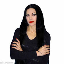 "Morticia Witch Cher 60's Hippie Women's Fancy Dress Costume WIG 36"" Long Black"
