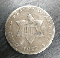 1852 THREE CENT SILVER Trime Very Fine VF or XF Details Ding on Obv