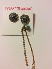 $38 Betsey Johnson Skull & Roses Pave Mismatched Earrings Bt 12