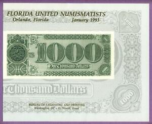 BEP 1993 FUN B165 Intaglio Souvenir Card 1890 $1000 Treasury Watermelon Note Rev