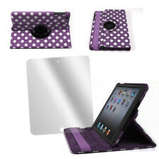 FOR IPAD MINI CASE COVER+SCREEN PROTECTOR SWIVEL STAND SKIN PU PURPLE FRONT+BACK