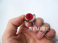 """Naruto Akatsuki Itachi Cosplay Ring Red """"Shu"""" Pendant Necklace"""