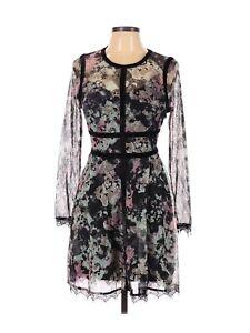 Fire Los Angeles Black Floral Long Sleeve lace floral dress a-line L