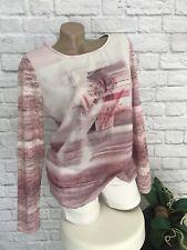 YEST Damen Tunika Shirt Gr S 36/38 rosa Multicolor Materialmix neu langarm