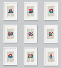 Letters A to Z Ben Eine Style Circus Vintage Dictionary Book Print Wall Art