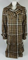 Zara Woman plaid double breasted trench coat jacket Camel Size L