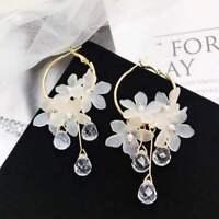 Women Circle Acrylic Flower Crystal Dangle Ear Clip Earring Fashion Jewelry