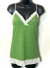 Victoria's Secret University PINK Lace Trim Green Stripe Cami Tank Top SZ L