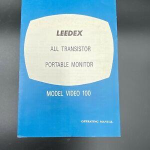 Vintage Leedex All Transistor Portable Monitor Model Video 100 Manual ONLY BK17