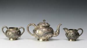 Excellent Three Antique ZEEWO Chinese Silver Dragon Tea Set