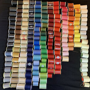 Huge Vintage Lot of 200+ Spools of Sewing Thread in Assorted Colors Brands Sizes