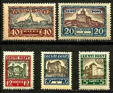 ESTONIA, SCOTT B15-B19, MINT NO GUM, YEAR 1927, COMPLETE SET, CASTLES OF ESTONIA