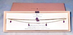 LUNA NORTE Anklet Ankle Bracelet Amethyst Gemstone Charms 14 KT Gold NIB