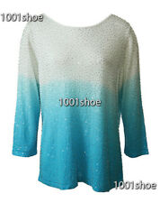new RRP $358 ELLEN TRACY OMBRE SEQUINNED KNIT BLOUSE TOP 16  last
